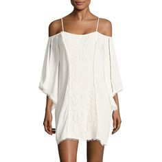 L*Space Embroidered Cold-Shoulder Cover-Up Tunic ($139) ❤ liked on Polyvore featuring tops, tunics, embroidered tunic, asymmetrical tunic, white cold shoulder top, white embroidered tunic and white bell sleeve top
