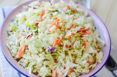 Making homemade coleslaw saves time and money! Try this quick and easy coleslaw recipe for your next picnic or cookout. It's a homemade coleslaw dressing recipe with the option to use prepackaged coleslaw veggies or shred your own! Healthy Coleslaw Recipes, Coleslaw Recipe Easy, Salad Recipes, Veggie Recipes, Ww Recipes, Gourmet Recipes, Great Recipes, Cooking Recipes, Golo Recipes