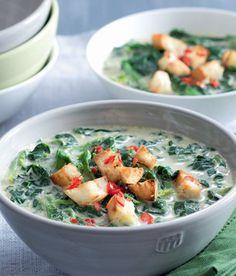 Špenátová polévka s kokosovým mlékem Potato Salad, Spinach, Food Porn, Food And Drink, Health Fitness, Potatoes, Vegan, Chicken, Ethnic Recipes