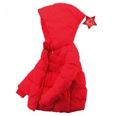 Cute Unisex Toddler Star Hooded Down Sweater/Jacket Warm Winter Outerwear Red