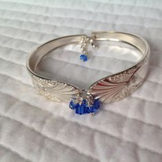 Vintage Crown Silver Plated Flatware Bracelet-1939 Radiance Pattern with Blue Swarovski Crystal Accents-FREE SHIPPING