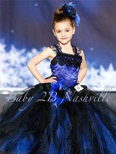 Wedding Flower Girl Dress in Royal Satin and Navy lace with Chiffon Flower clip and Ruffled Lace Peplum Tutu Dress All Sizes Girls Wedding Girl, Wedding Flower Girl Dresses, Lace Flower Girls, Flower Dresses, Dress Wedding, Gothic Wedding, Wedding Wear, Royal Dresses, Pageant Dresses