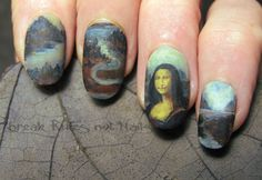 To me the Renaissance is all about art, so I thought I would try to paint the Mona Lisa, ambitious project I know! I used fake nails for this and watercolour paint. My dad asked me had if I had bee. Mona Lisa, Gothic Nails, Seasonal Nails, Nails Only, Nail Art Galleries, Nails Magazine, Cool Nail Art, Nail Arts, Nail Inspo