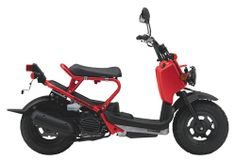 The 2009 Honda Ruckus (base price $2,499) is powered by a 49cc liquid-cooled single-cylinder engine with a V-Matic automatic transmission. Oversized tires offer a rugged look, and some owners report getting 100 mpg from their Ruckuses.