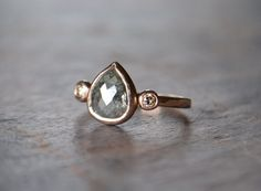 Rose Cut Natural Diamond Engagement Ring by RubyPierceJewelry Champagne Engagement Rings, Pear Cut Engagement Rings, Raw Diamond Rings, Vintage Wedding Jewelry, Champagne Diamond, Sea Glass Jewelry, Necklace Set, Natural Diamonds, Jewelry Design