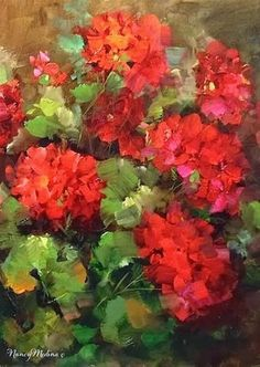 """Daily Paintworks - """"Barefoot Garden Geraniums by F..."""" by Nancy Medina"""