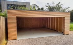 Prefabricated double garage – x m – Hagen – wooden garages and carports – Refere … - Modern Garage Préfabriqué, Plan Garage, Timber Garage, Garage Door Design, Wooden Door Design, Wooden Doors, Garage Doors, Wooden Garages, Modern Carport