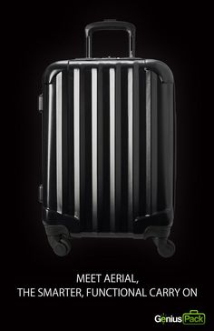 """Newest to the Genius Pack collection, """"Aerial"""" is a maximum size carry on with minimalist design with durable 360-degree spinner wheels, a secluded laundry compartment, interior category compartments for a think-free packing experience, integrated packing checklist, and oh it's extremely light, just 6.2 lbs."""