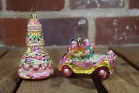 """Christopher Radko """"Just Married"""" Car and Wedding Cake Glass Ornament"""