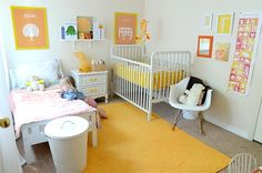 Shared Bedroom Ideas for Kids: Shared Toddler and Infant Room at Melissa Esplin via lilblueboo.com