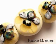 """Honeycomb No. 3 set accents"" more mini honeybees decorating glass beads by Heather Sellers. Bee Jewelry, Glass Jewelry, Glass Beads, Polymer Clay Beads, Lampwork Beads, Beaded Spiders, Bees Knees, Bead Art, Glass Art"