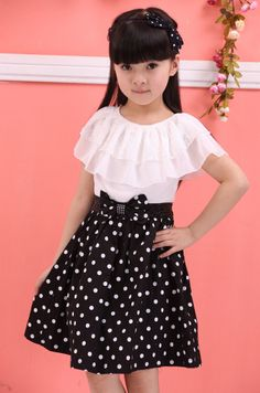 2014 girls summer dresses Baby Kids Children's Lovely princess Two Tones Splicing Polka Dots Dress 3 colors 5 sizes