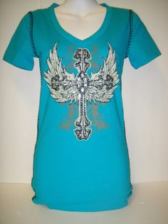 Aqua cross & wing tee with black stitching.  Size Small