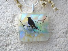 Bird Necklace  Dichroic Glass Jewelry  Bird on Branch by ccvalenzo, $28.00