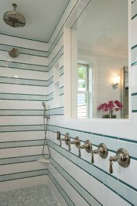 """Bathroom turquoise glass tile, The shower wall pattern is made of 3 different tiles as shown in photo and here's pattern drawing:  - 11 rows of 6""""h = 66""""h  (white 6""""x12"""" subway).    - 10 rows of 3""""h = 30""""h  (light green 3""""x6"""" subway).    - 20 rows of 9/16"""" = 10""""h  (darker green glass pencil at 9/16""""x6"""").  White Subway Tile:= Royal Mosa - 15 Thirty; extra white gloss #61213710; 6x12  as the white.    Light Green Subway =  Pratt & Larson Ceramics PF-36XX/3x6 Field;  Glaze Color: R148…"""