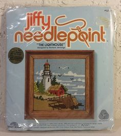 Vintage Complete Jiffy Needlepoint Kit #5757 Lighthouse Sunset Design USA Sewing #Jiffy