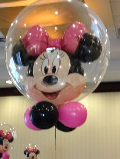 Globo brubuja de Minnie para centros de mesa. #FiestaMinnieMouse