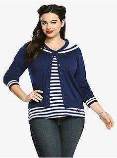 Get anchored in true rockabilly fashion. A sailor's collar gives this blue and white cardigan a retro feel. Be the first to have dibs on this soft button-up style. It's the perfect casual piece to get the weekend rollin'.