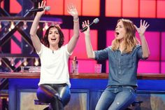 Anne Hathaway and Emily Blunt battle it out on 'Lip Sync Battle'. Photo: Spike TV