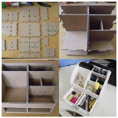 EL MUNDO DEL RECICLAJE: DIY Organizador de mesa de cartón