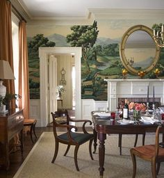 20 Timeless Farmhouse Dining Room Design and Decor Ideas that are Simply Charming Traditional Dining Rooms, Traditional Kitchens, Room Decorations, Of Wallpaper, Scenic Wallpaper, Landscape Wallpaper, Textured Wallpaper, Dining Room Design, Chinoiserie