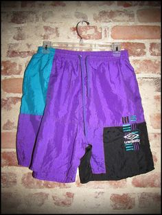 Vintage 90's Purple and Teal Block Umbro Shorts by RackRaidersVintage, $18.00