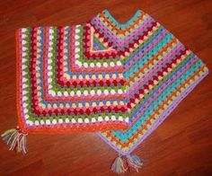Free Granny Poncho pattern--shown in child's size but you could work as many rows as you want if you want an adult size version.