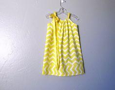 Girls Pillowcase Dress - Lemon Yellow and White Chevron Stripes - Little Girls Yellow Sun Dress - Size 12m, 18m, 2T, 3T, 4T or 5
