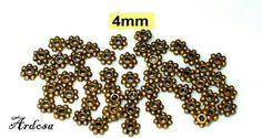 50 Perlen Daisy bronze 4mm massiv blüte  von Schmuckmaterial