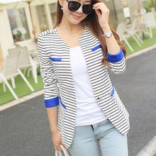 S-XXL female blazer outerwear autumn women's suit stripe slim top coat casual jackets sleeve one button suit outerwear(China (Mainland))