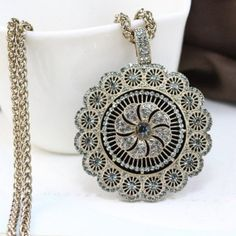 $12.94 Delicate Women's Sunflower Shape Rhinestone Decorated Pendant Sweater Chain Necklace