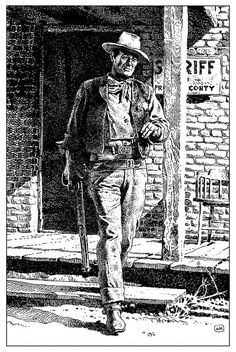 Jean Giraud Moebius, drawing of John Wayne from Rio Bravo John Wayne, Jean Giraud, Western Comics, Western Art, Western Cowboy, Portrait Au Crayon, Moebius Art, Serpieri, Bd Comics