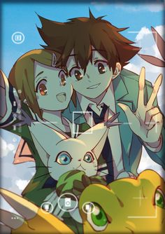 Digimon Adventure Tri - Selfie: Kari and Tai Kamiya (Hikari with Taichi Yagami) take a selfie with Gatomon (Tailmon) and Agumon Digimon Frontier, Digimon Adventure Tri., Digimon Tattoo, Anime Comics, Dc Comics, Digimon Fusion, Pokemon Fusion, Digimon Wallpaper, Monsters