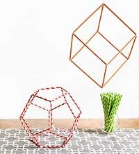 3D Straw Shapes-for math, shows simple pipe cleaner connector for corners.