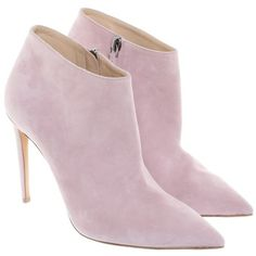 Pre-owned Ankle boots in pink found on Polyvore featuring shoes, boots, ankle booties, footwear, pink, pink boots, ralph lauren booties, ankle bootie boots, side zip boots and pointy-toe boots