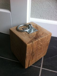 Oak door stop. Wow! Industrial look