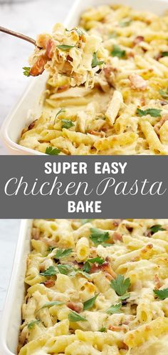 Easy Creamy Chicken Pasta Bake Easy Creamy Chicken Pasta Bake – leftover chicken, smoky bacon and pasta all coated in a simple 2 ingredient cheese sauce. This quick pasta bake is the ultimate in comfort food, and uses leftover rotisserie chicken! Easy Chicken Pasta Bake, Baked Chicken Pasta Recipes, Healthy Pasta Bake, Creamy Chicken Pasta, Easy Pasta Recipes, Healthy Meals, Healthy Dishes, Healthy Rotisserie Chicken Recipes, Best Pasta Bake Recipe