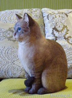 TABBY-POINT - cкульптура тайского кота -wood carving cat