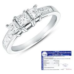 $324.99 - 3-Stone 1/2 Carat Certified Princess Cut Diamond 14K White Gold Engagement Ring