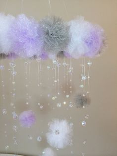 purple and grey crystal baby mobile princess by JennabooBoutique