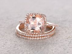 3pc 9mm Morganite Engagement ring set,Rose gold,Diamond wedding band,14k,Cushion Cut,Gemstone Promise Bridal Ring,8 ball Prongs,Pave Set by popRing on BBBGEM