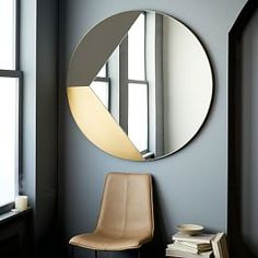 Geo Shapes Oversized Round Mirror, White + Brass at West Elm - Mirrors - Wall Decor - Home Decor Decor Interior Design, Interior Decorating, Design Interiors, Spiegel Design, Rustic Mirrors, Modern Mirrors, Decorative Mirrors, Modern Wall, Circular Mirror