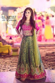 Lehnga in Mehndi Bridal Mehndi Dresses, Walima Dress, Pakistani Wedding Outfits, Pakistani Wedding Dresses, Pakistani Bridal, Bridal Outfits, Bridal Lehenga, Indian Dresses, Pakistani Mehndi Dress