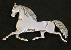 Sterling Silver Trotting Horse Brooch Signed Frank Salcido #sterlingsilver rooch #horsebrooch #FrankSalcidojewelry $79.00