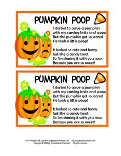 Pumpkin Poop Treat! I think I'm  Gonna make these for the kids friends! :-)