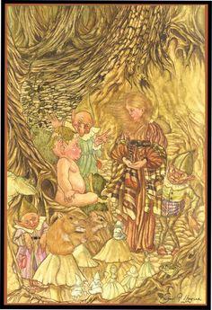 Michael Hague original watercolor Gnomes and Fairies, early portfolio piece.