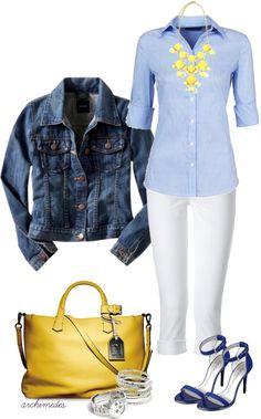 Chaqueta tejana, jersey azul claro celeste, jean blanco, bolso  y collar amarillo.