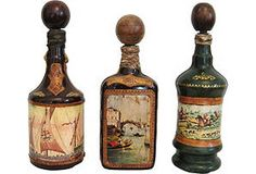 Italian Leather-Covered Decanters, S/3