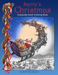 Santa's Christmas Grayscale Adult Coloring Book24 images