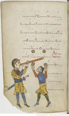 Http://gallica.bnf.fr/ark:/12148/btv1b8432314k/f224.item. Troparium et prosarium Sancti Martialis Lemovicensis. År 975 - 1100. Gammalt, kläder, spela, jonglera.
